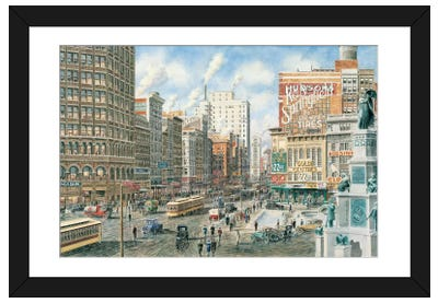 Detroit Looking North on Woodward Framed Art Print