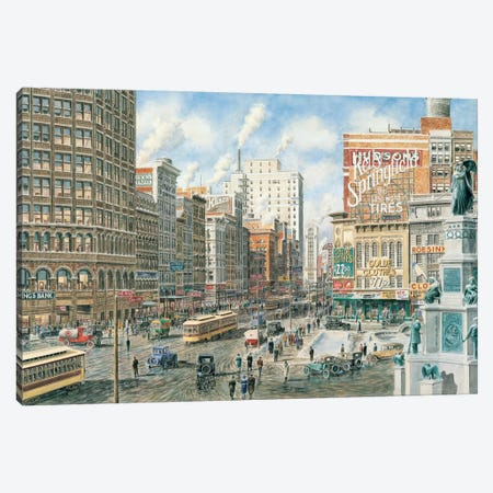 Detroit Looking North on Woodward Canvas Print #9488} by Stanton Manolakas Art Print