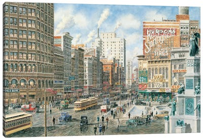 Detroit Looking North on Woodward Canvas Art Print