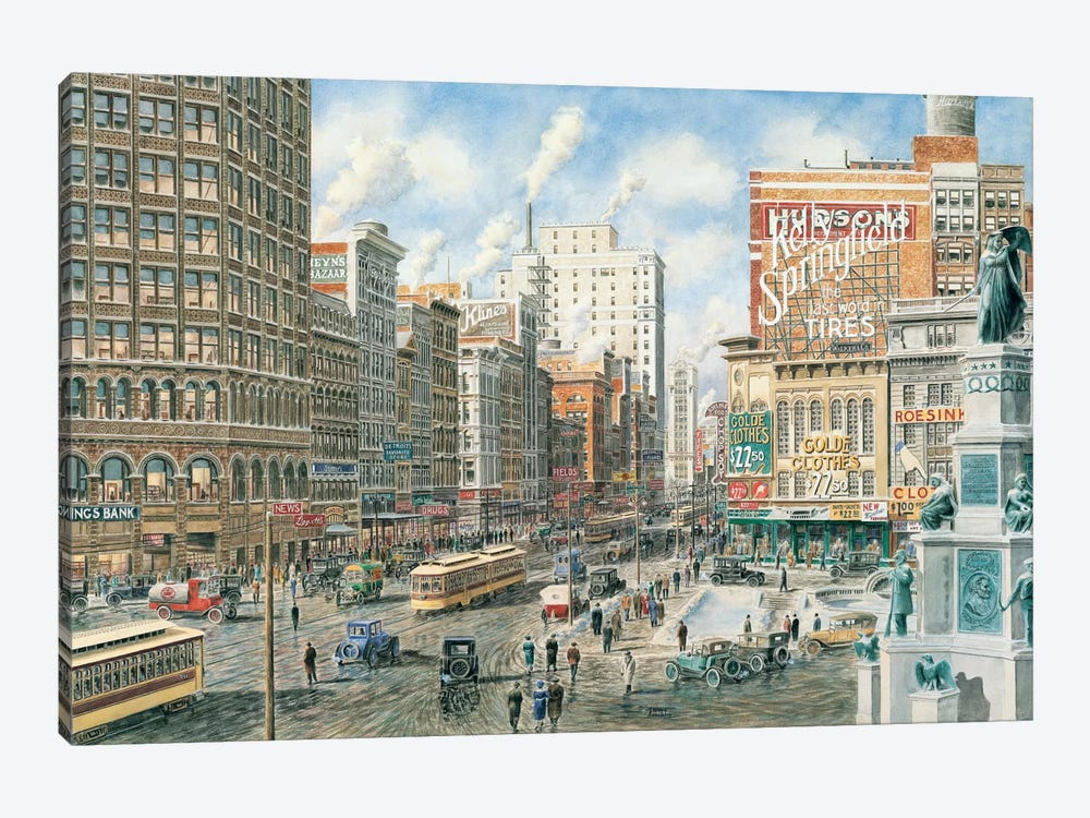 Detroit Looking North on Woodward by Stanton Manolakas 1-piece Canvas Art