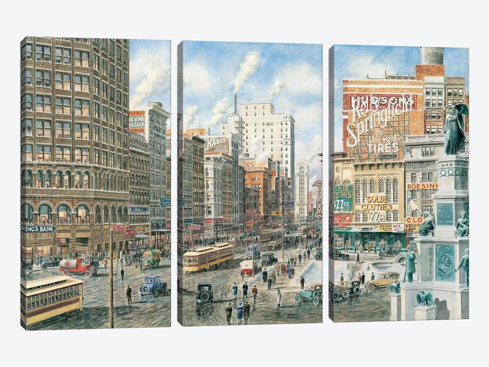 Detroit Looking North on Woodward by Stanton Manolakas 3-piece Canvas Artwork