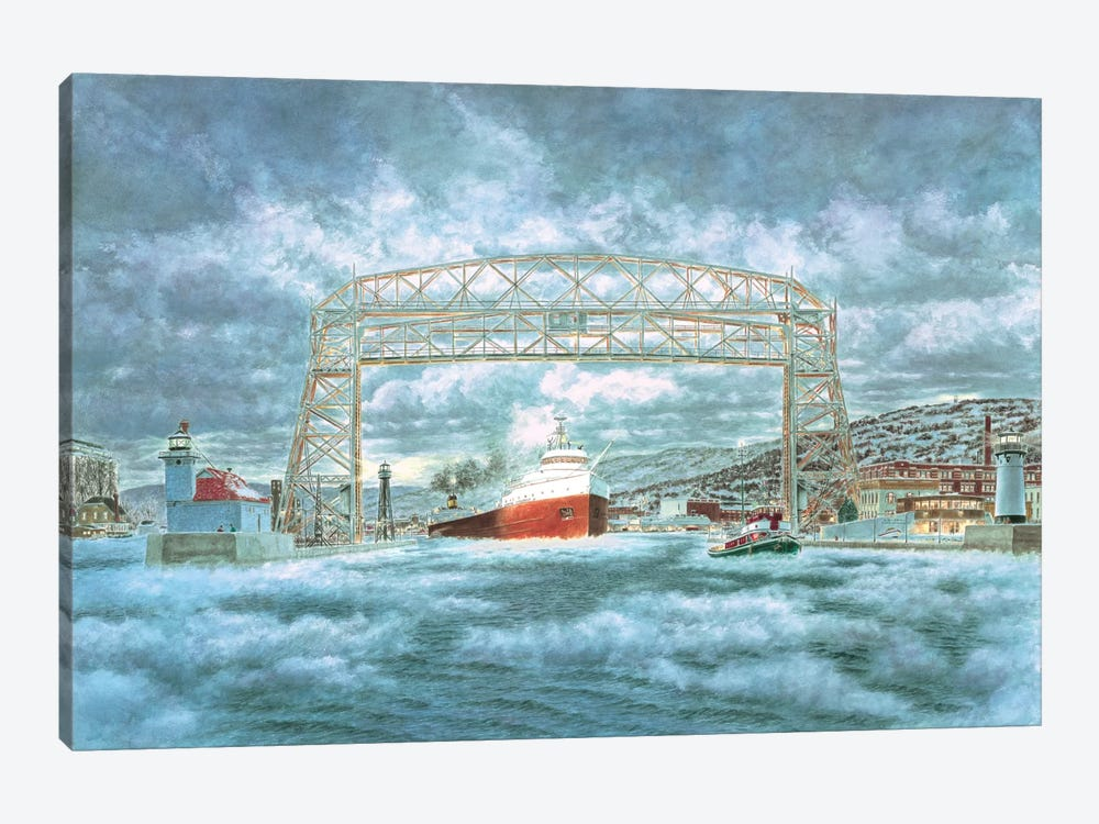 The Edmund Fitzgerald Leaving The Dock by Stanton Manolakas 1-piece Canvas Art Print