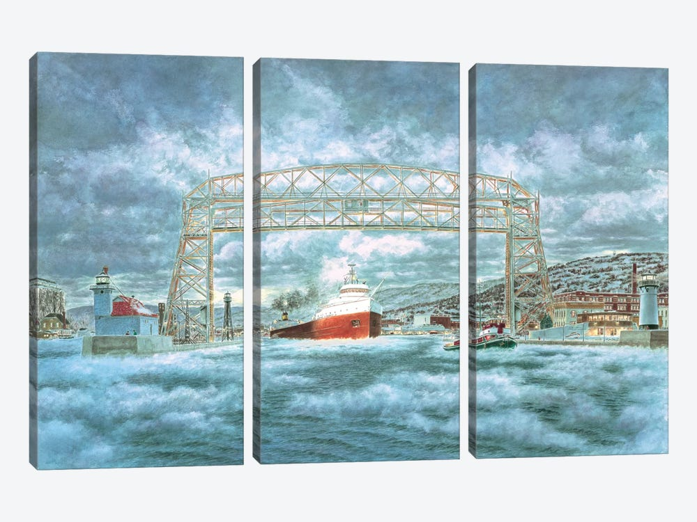 The Edmund Fitzgerald Leaving The Dock by Stanton Manolakas 3-piece Canvas Print