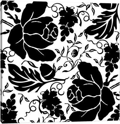 Grapes & Buds Black & White Canvas Art Print