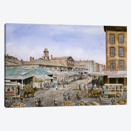 Fulton Market, New York Canvas Print #9511} by Stanton Manolakas Art Print