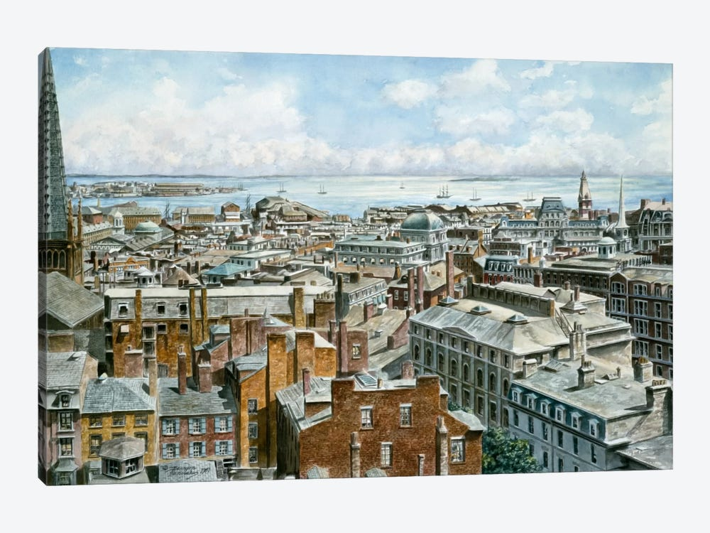 Boston: East From St House 1876 by Stanton Manolakas 1-piece Canvas Print