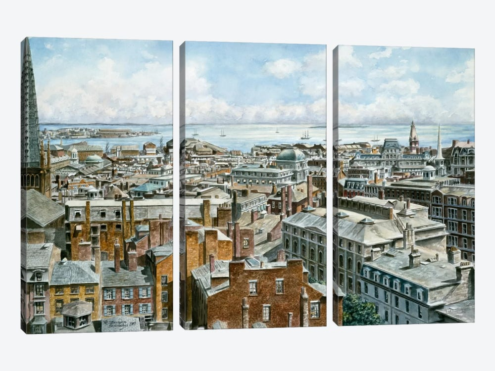 Boston: East From St House 1876 by Stanton Manolakas 3-piece Canvas Print