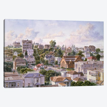View Of Bunker Hill From First Congregational Church Of Los Angeles Canvas Print #9514} by Stanton Manolakas Canvas Wall Art