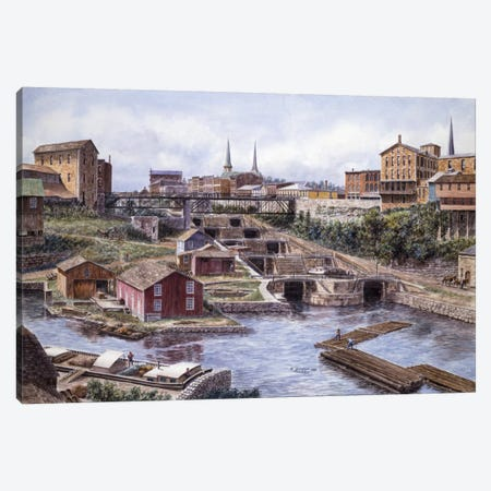 Flight of Five, Lockport, NY Canvas Print #9521} by Stanton Manolakas Canvas Wall Art