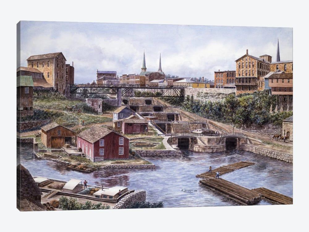 Flight of Five, Lockport, NY by Stanton Manolakas 1-piece Canvas Wall Art