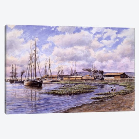 Banning Wharf, circa 1880 Canvas Print #9530} by Stanton Manolakas Canvas Art Print