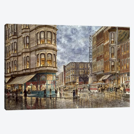 Dinner Hour, San Francisco, Ellis & Market St Canvas Print #9535} by Stanton Manolakas Canvas Wall Art
