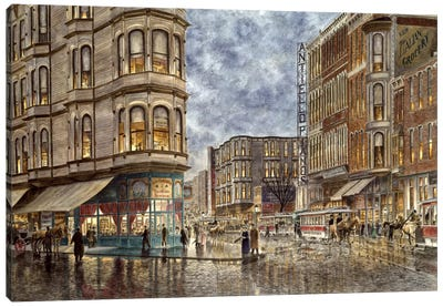 Dinner Hour, San Francisco, Ellis & Market St by Stanton Manolakas Canvas Wall Art