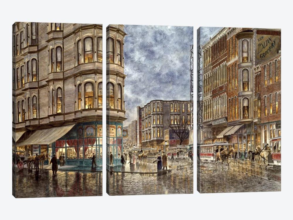 Dinner Hour, San Francisco, Ellis & Market St by Stanton Manolakas 3-piece Canvas Print