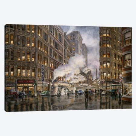 20th Century Limited, Washington & Wharf, Syracuse, New York Canvas Print #9537} by Stanton Manolakas Canvas Artwork