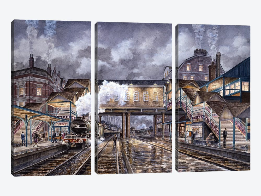 Night Train To Edinbourough by Stanton Manolakas 3-piece Canvas Wall Art