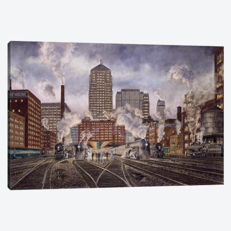 20th Century Limited, Leaving Chicago Canvas Print #9541} by Stanton Manolakas Canvas Wall Art