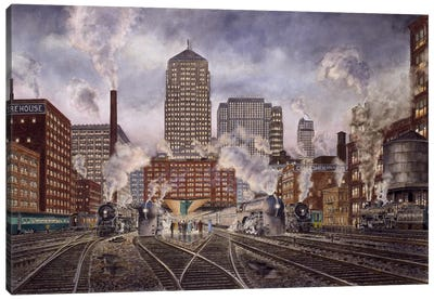 20th Century Limited, Leaving Chicago Canvas Art Print
