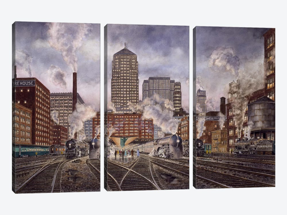 20th Century Limited, Leaving Chicago by Stanton Manolakas 3-piece Canvas Artwork