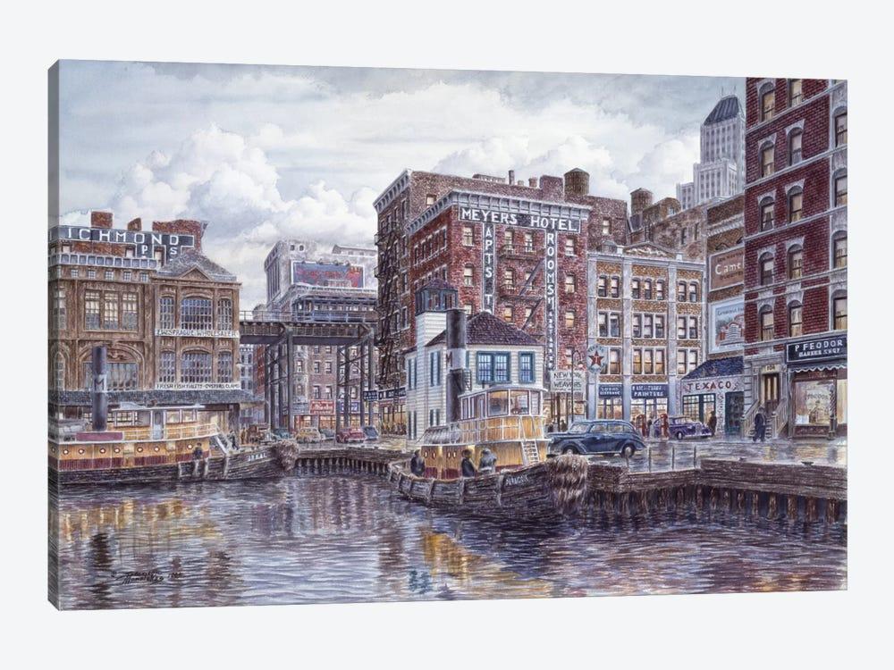 Tugboats & Tenements by Stanton Manolakas 1-piece Canvas Art Print
