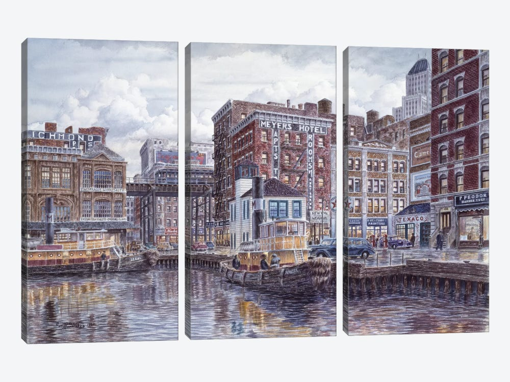 Tugboats & Tenements by Stanton Manolakas 3-piece Canvas Art Print