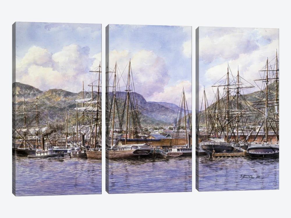 Honolulu Harbor by Stanton Manolakas 3-piece Canvas Art Print