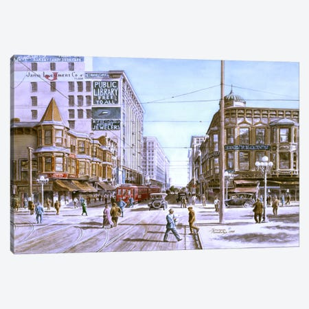 Los Angeles: 5th & Hill Canvas Print #9554} by Stanton Manolakas Canvas Wall Art