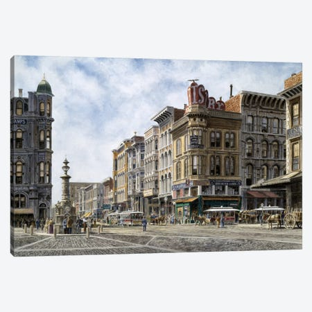 San Francisco: Latta's Fountain, Market & Geary Sts. Canvas Print #9556} by Stanton Manolakas Canvas Wall Art