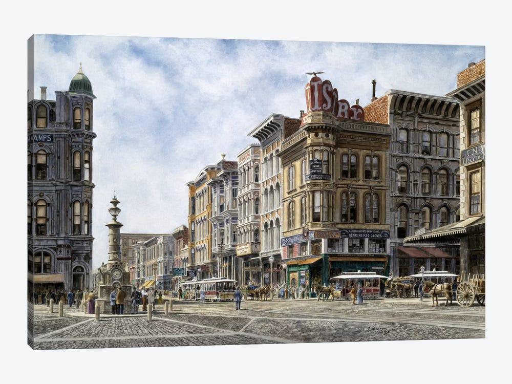 San Francisco: Latta's Fountain, Market & Geary Sts. by Stanton Manolakas 1-piece Canvas Art