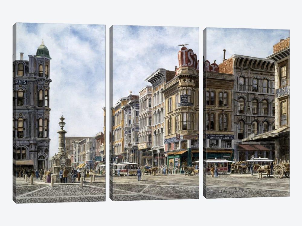 San Francisco: Latta's Fountain, Market & Geary Sts. by Stanton Manolakas 3-piece Canvas Art