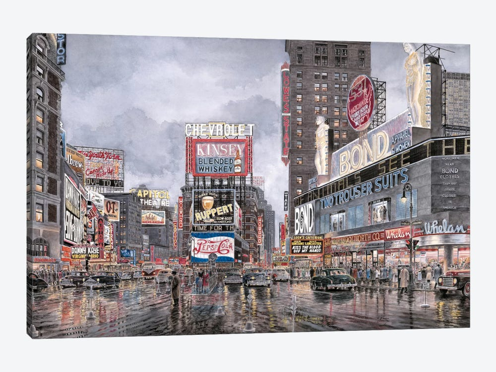 Times Square: New York by Stanton Manolakas 1-piece Canvas Wall Art