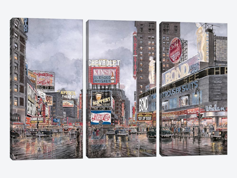 Times Square: New York by Stanton Manolakas 3-piece Canvas Wall Art