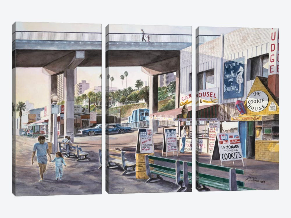 Santa Monica: Promenade At Sunset by Stanton Manolakas 3-piece Art Print