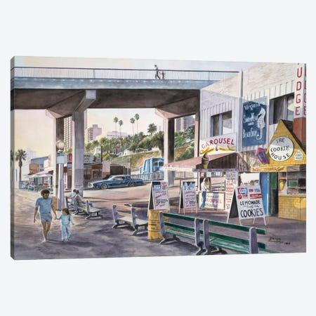 Santa Monica: Promenade At Sunset Canvas Print #9562} by Stanton Manolakas Canvas Artwork