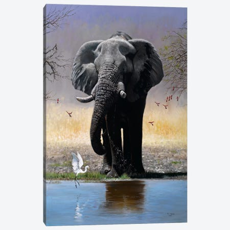 Elephant, Egret & Carmines Canvas Print #9569} by Pip McGarry Canvas Artwork