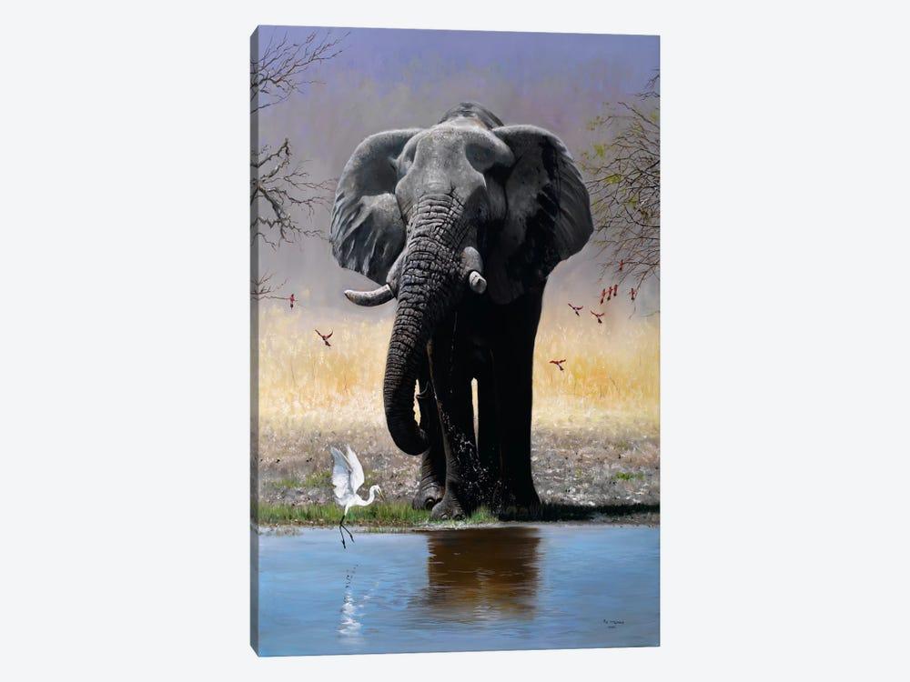 Elephant, Egret & Carmines by Pip McGarry 1-piece Canvas Artwork