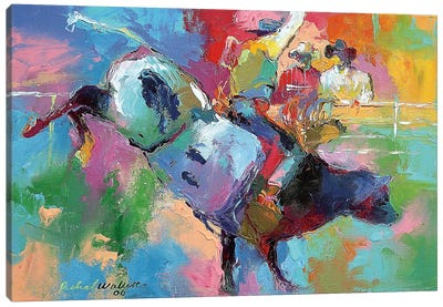Bull Riding Canvas Art Print