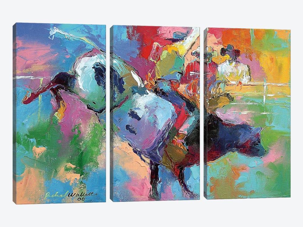 Bull Riding by Richard Wallich 3-piece Canvas Art