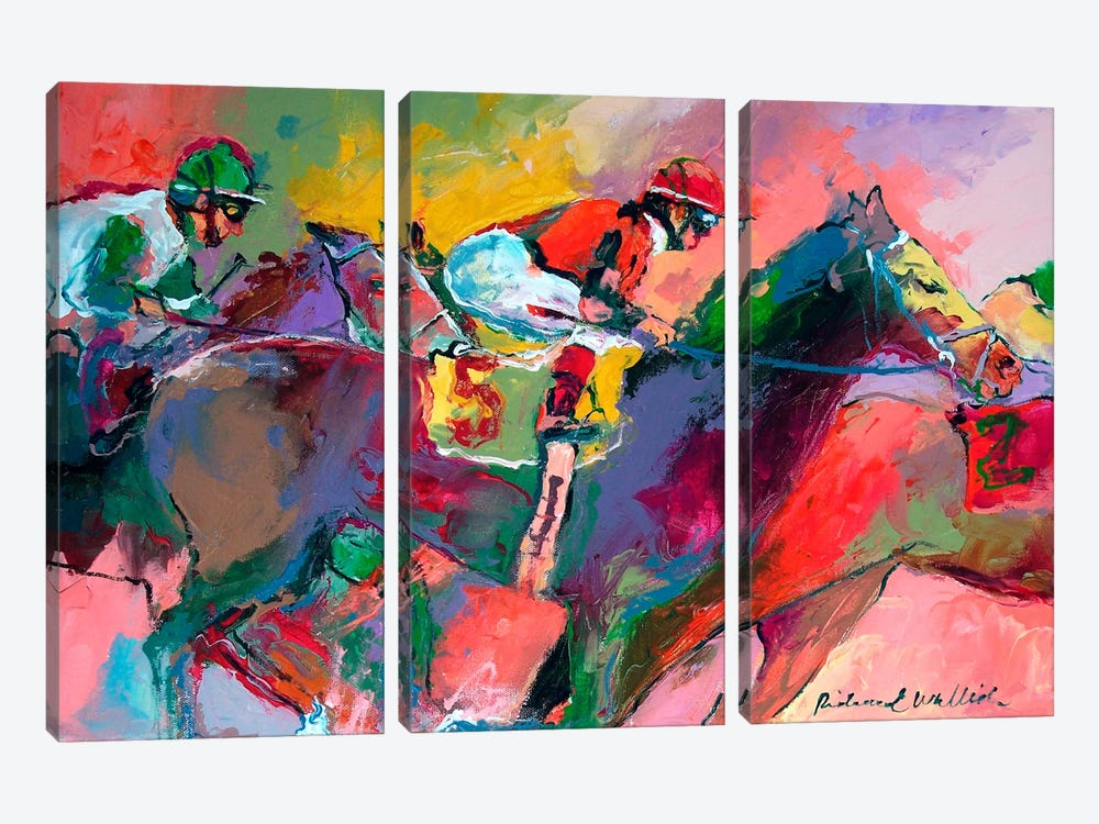Race II by Richard Wallich 3-piece Canvas Artwork