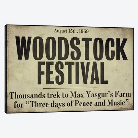Woodstock - Vintage Newspaper Headline Canvas Print #9673} by Color Bakery Canvas Artwork