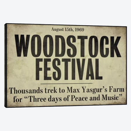 Woodstock - Vintage Newspaper Headline Canvas Print #9673} by Color Bakery Canvas Artwork