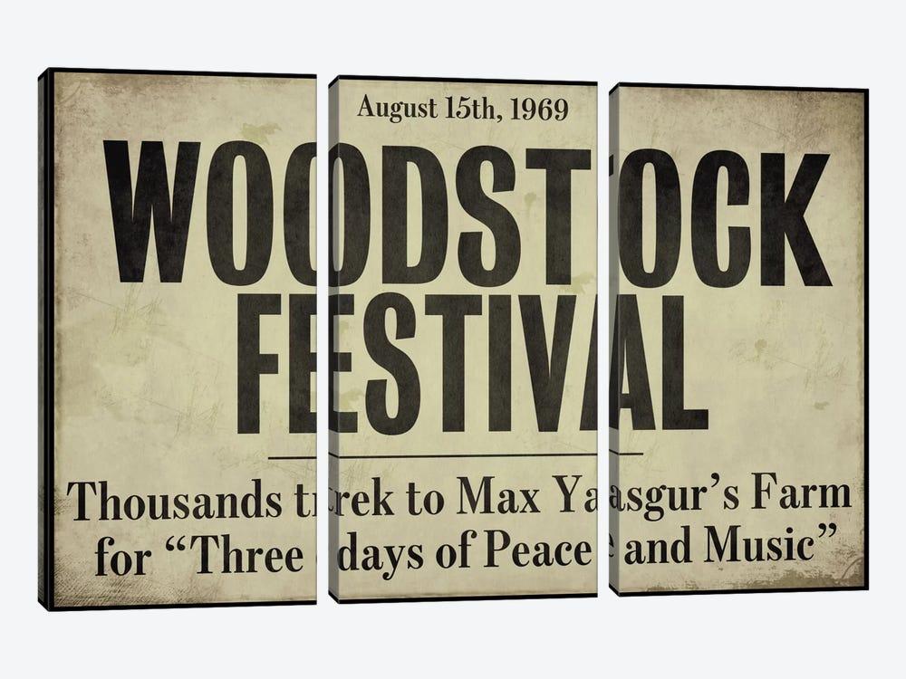 Woodstock - Vintage Newspaper Headline by Color Bakery 3-piece Art Print