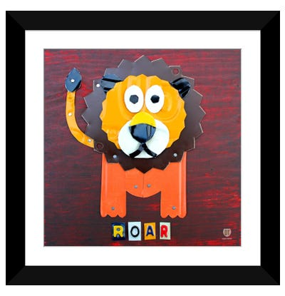 "Recycled License Plate Animal Sound Series: ""Roar"" The Lion Framed Art Print"