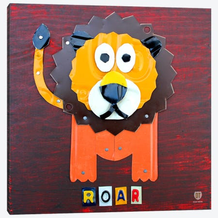"Recycled License Plate Animal Sound Series: ""Roar"" The Lion Canvas Print #9708} by Design Turnpike Canvas Artwork"
