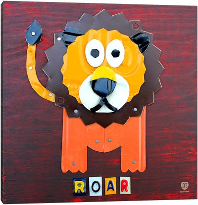 """Recycled License Plate Animal Sound Series: """"Roar"""" The Lion Canvas Print #9708"""