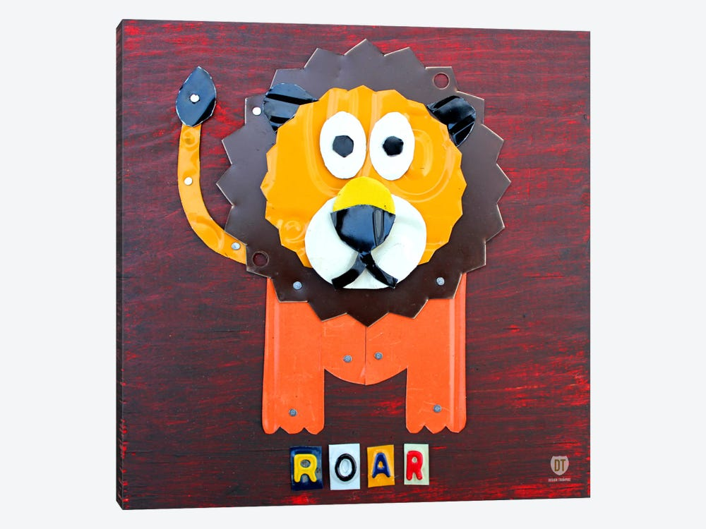 "Recycled License Plate Animal Sound Series: ""Roar"" The Lion by Design Turnpike 1-piece Canvas Art"