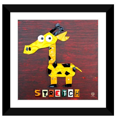 "Recycled License Plate Animal Sound Series: ""Stretch"" The Giraffe Framed Art Print"