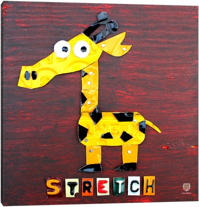 """Recycled License Plate Animal Sound Series: """"Stretch"""" The Giraffe Canvas Print #9709"""