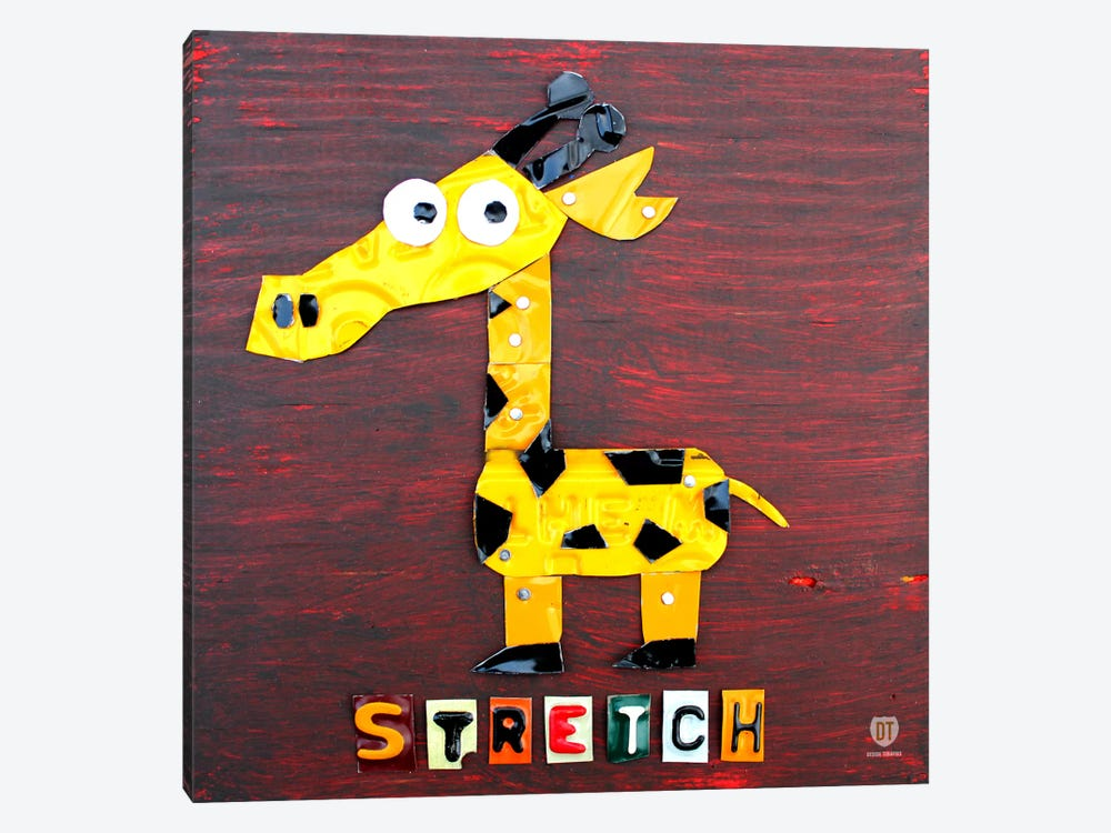"Recycled License Plate Animal Sound Series: ""Stretch"" The Giraffe by Design Turnpike 1-piece Canvas Print"