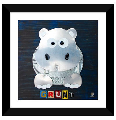 "Recycled License Plate Animal Sound Series: ""Grunt"" The Hippo Framed Art Print"